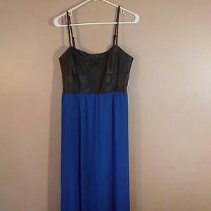 Forever 21 L Black Faux Leather, Blue Maxi Dress